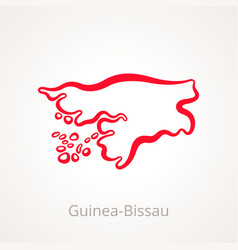 Outline map of guinea-bissau marked with red line vector