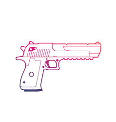 pistol outline over white handgun powerful gun vector image