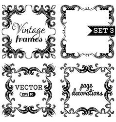 set 3 Hand-drawn vintage frames vector image vector image