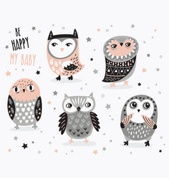 set of cute cartoon owls with ethnic ornament vector image