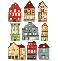 Set Of Hand Drawn Colored Buildings vector image vector image