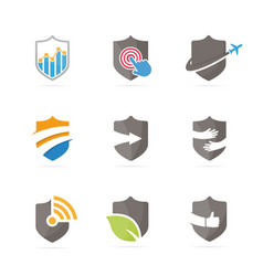 set of shield logo combination security and vector image