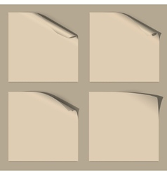 Set of White Empty Paper Sheets with Curled Corner vector image