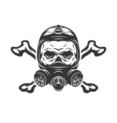 Skull wearing a gas mask and crossbones vector image vector image