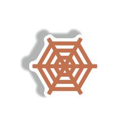 Stylish icon in paper sticker style spider web vector