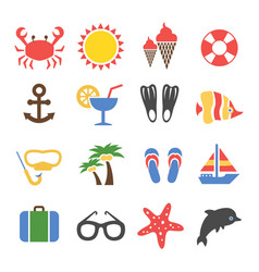 summer vacation colorful icons set vector image