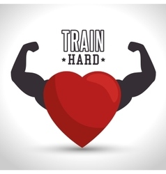 Train hard heart arm icon gym vector