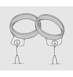 two persons holding rings over their head vector image