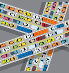 vehicles on road with traffic jam vector image vector image