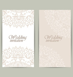 Vertical wedding invitation card with lace vector image vector image