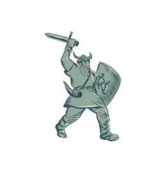 Viking warrior striking sword etching vector