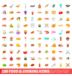 100 food and cooking icons set cartoon style vector