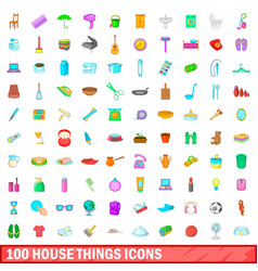 100 house things icons set cartoon style vector image