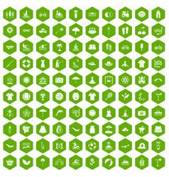 100 summer icons hexagon green vector
