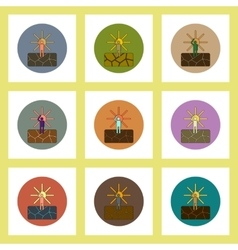 Flat icons set of cracked earth and hot sun vector