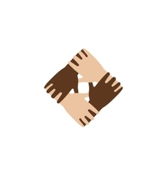 Isolated abstract dark and light skin hands vector