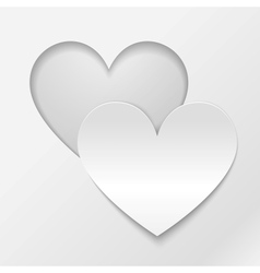 Cut out paper heart Valentines day card vector image