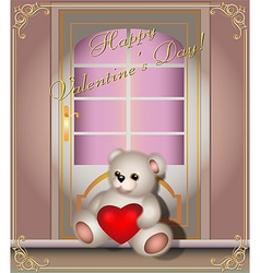 Greeting card with teddy bear and door vector