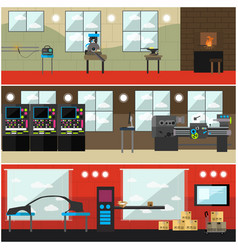 Set of factory interior posters banners in vector