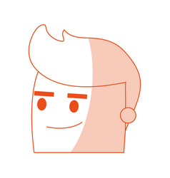 Red silhouette image side view face cartoon man vector