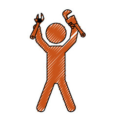 Worker with wrench pictogram vector