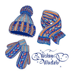 Warm hat mittens scarf color doodle vector