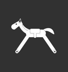 white icon on black background rocking horse vector image