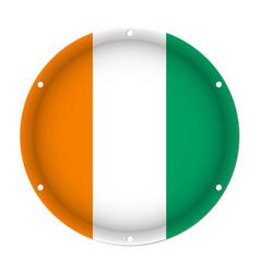 Round metallic flag of ivory coast screw holes vector