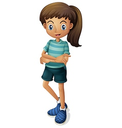 A young girl wearing a stripe-colored tshirt vector
