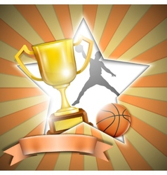 Basketball poster with trophy cup vector