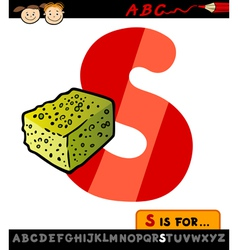 Letter s with sponge cartoon vector