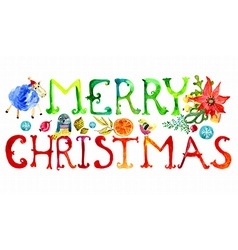 Merry Christmas watercolor text vector image