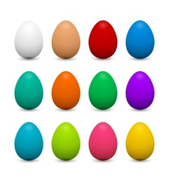 Set of 3d eggs in different colors for easter vector