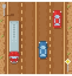 Road with red blue cars and cargo truck - retro vector