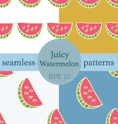 Juicy watermelon seamless pattern set vector