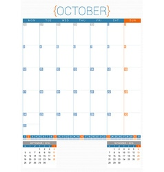 Calendar planner 2016 design template october week vector