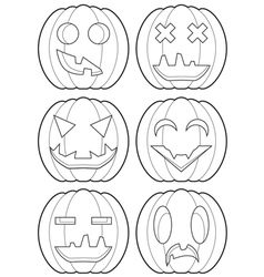 Set of pumpkins outlines vector