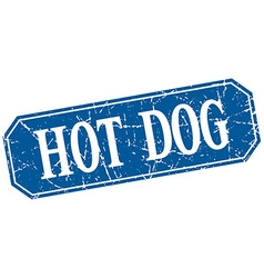 Hot dog blue square vintage grunge isolated sign vector