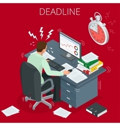 Project deadline concept of overworked man man vector