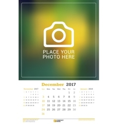 December 2017 wall monthly calendar for 2017 year vector