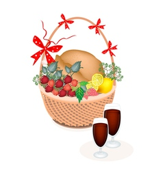 A Brown Basket of Thanksgiving Turkey with Wine vector image vector image