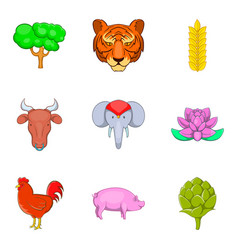 Animal of warm country icons set cartoon style vector