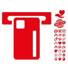 Atm machine icon with valentine bonus vector