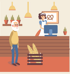 Bakery shop interior with girl seller character in vector