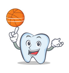 basketball tooth character cartoon style vector image