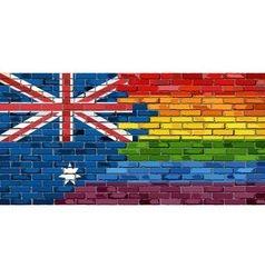 Brick wall australia and gay flags vector