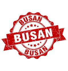 Busan round ribbon seal vector