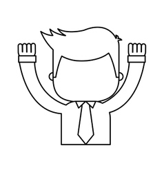 businessman funny with hands up character icon vector image vector image
