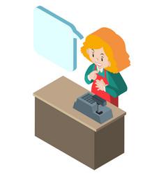 Cashier working behind desk in 3d design vector