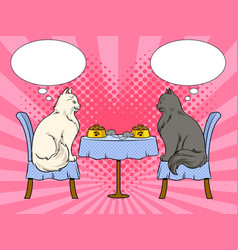 cats on date in cat restaurant pop art vector image
